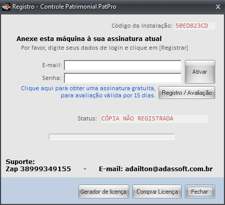Tela de registro de softwares