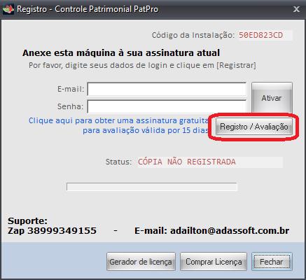 Tela de registro de softwares - Botão Registro / Avaliação