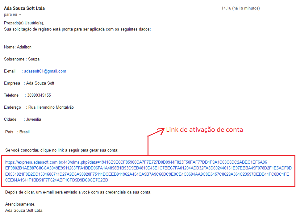 E-mail de ativação do registro no portal do cliente
